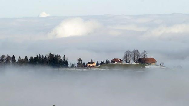 Der Gipfel des Luzerner Napfs in Wolken gehüllt.