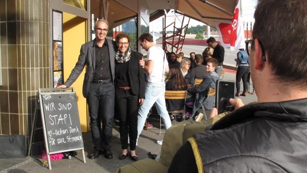 Beat Züsli, neuer Luzerner Stadtpräsident, an der Wahlfeier.