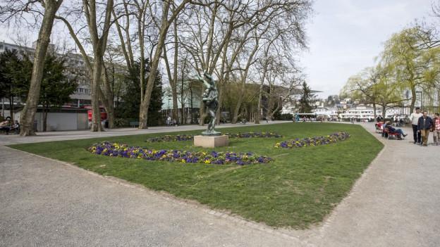 Ein Rasenplatz auf dem Luzerner Inseli.