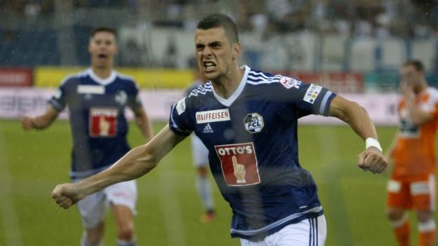 Der FCL-Spieler Tomi Juric jubelt nach dem Tor zum 1:0