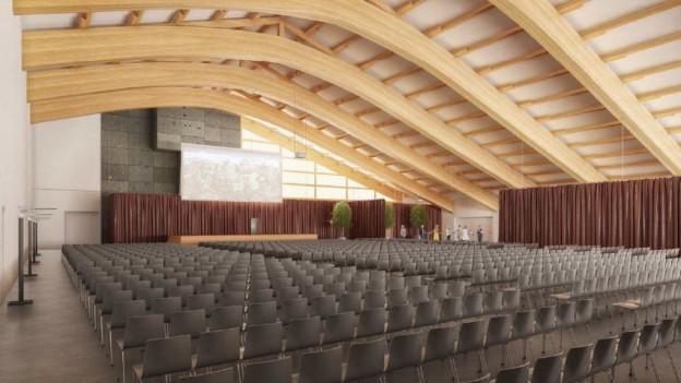 So hätte die Tennishalle als Kursaal umgenutzt werden können (Visualisierung).