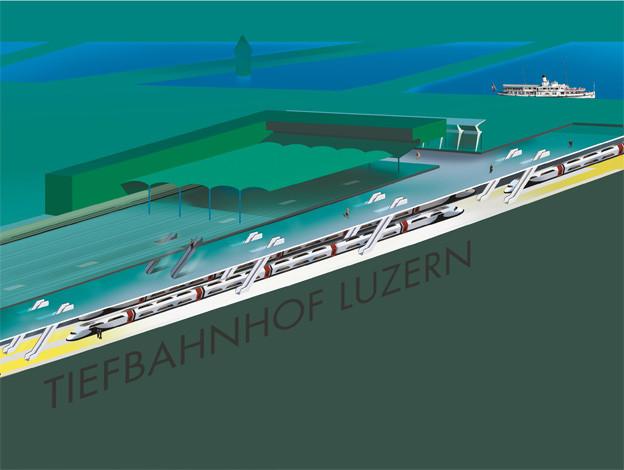 So könnte der Bahnhof dereinst aussehen, wenn es nach dem Willen der Luzerner Regierung geht.