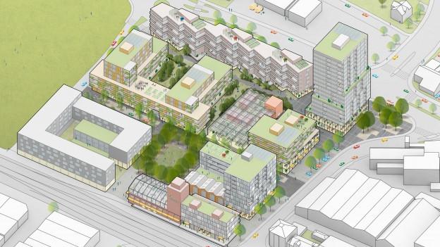 Visualisierung eines Bauprojekts mit Wohnungen und Hochhaus.