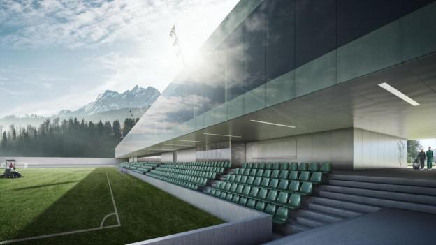 Modell des neuen Krienser Sportzentrums.