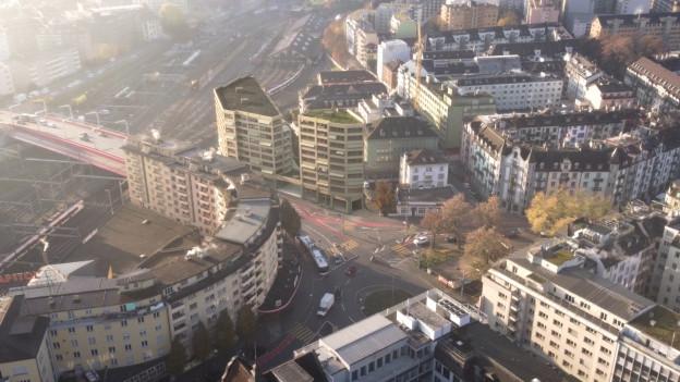 Visualisierung eines Bauprojekts mit Hochhäusern.
