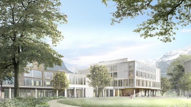 Modell des neuen Urner Kantonsspitals.