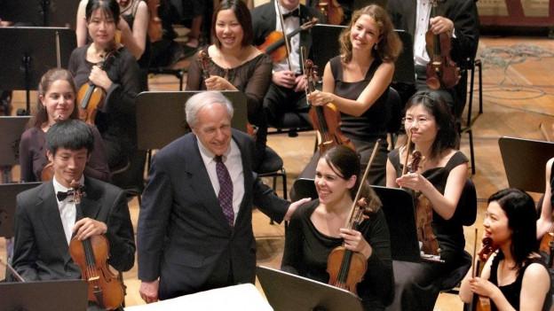 Pierre Boulez an einem Konzert in Luzern.