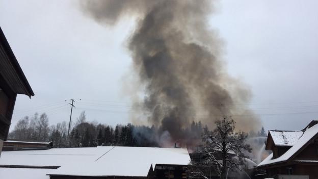Grosse Rauchsäule auf dem Gelände der Schilliger-Sägerei.