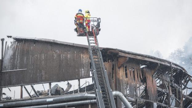 Löscharbeiten auch noch am Tag nach Brandausbruch.