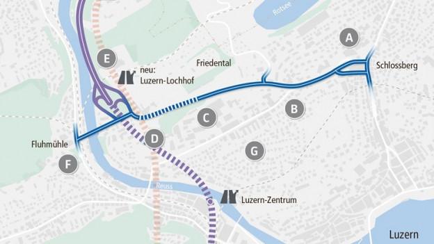 Karte mit Strassenprojekt.