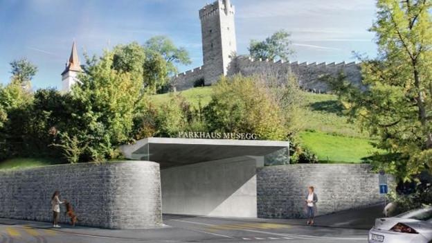 Visualisierung für ein Parkhaus im Musegghügel in der Stadt Luzern.