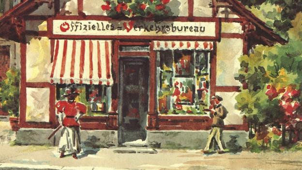 Gemälde des ersten Chalets von Luzern Tourismus.