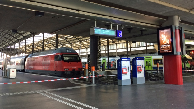 Im Bahnhof Luzern sind die Züge auf dem Abstellgleise.
