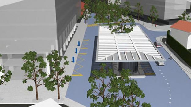 Visualisierung des geplanten Kantonsbahnhofs in Altdorf.
