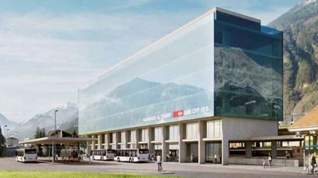 So soll der Kantonsbahnhof in Altdorf dereinst aussehen.