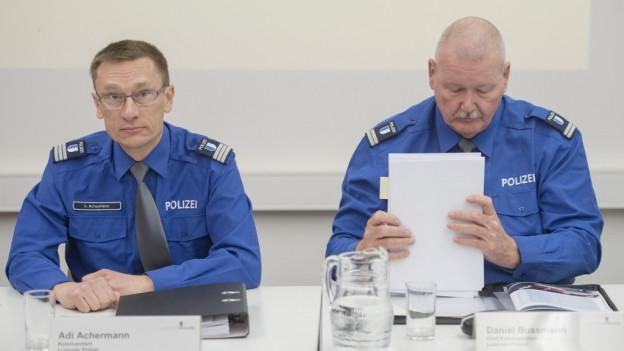 Polizeikommandant Adi Achermann und Kripochef Daniel Bussmann.