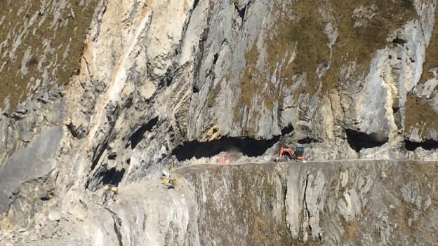 Felssturz auf dem Felsenweg zwischen der Ruosalp und Alplen im Kanton Uri