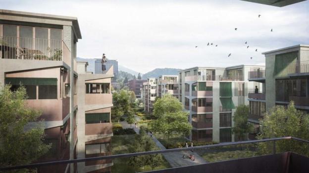 Visualisierung der neuen Häuser an der Libellenstrasse Luzern