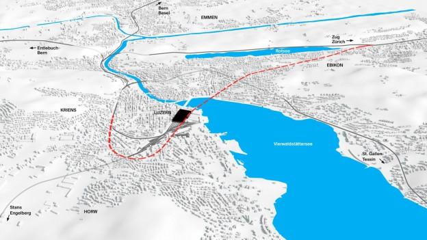 Linienführung des künftigen Durchgangsbahnhofs in Luzern.