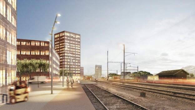 Visualisierung eines grossen Bürokomplexes an einer Bahnstrecke.