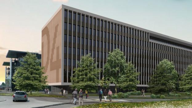 Visualisierung des geplanten Bürogebäudes der SUVA.