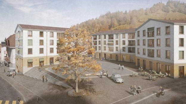 Visualisierung des geplanten Dorfplatzes in der Luzerner Gemeinde Entlebuch.