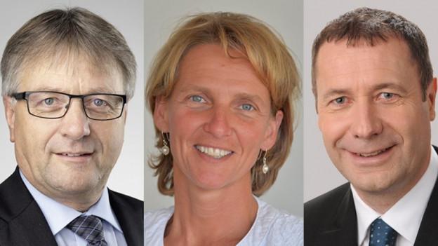 Portraits der amtierenden, Nidwaldner CVP-Regierungsräte: Josef Niederberger, Karin Kayser und Othmar Filliger.