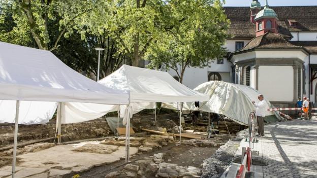 Archäologische Grabungen beim Franziskanerplatz in Luzern.