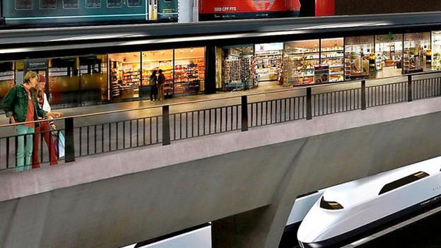 Visualisierung des geplanten Tiefbahnhofes Luzern