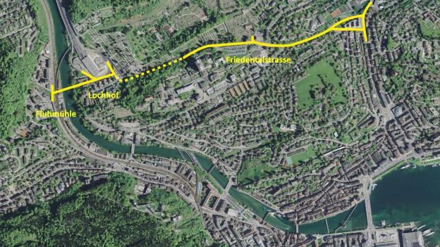 Eine Karte, die den Norden der Stadt Luzern zeigt.