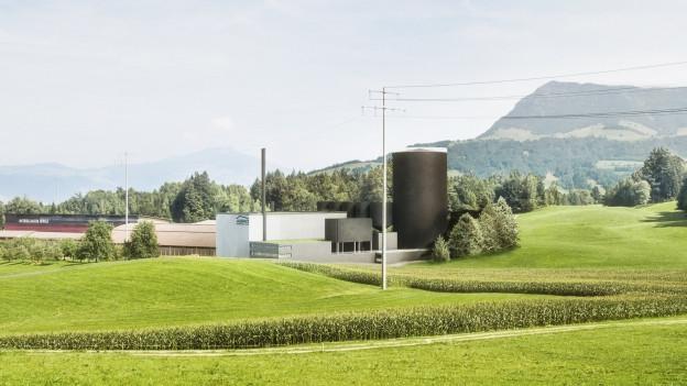 Visualisierung des geplanten Holzkraftwerks mit der Rigi im Hintergrund.