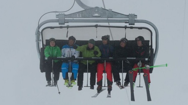 Die erste Fahrt des neuen Sessellifts am Oberalp.