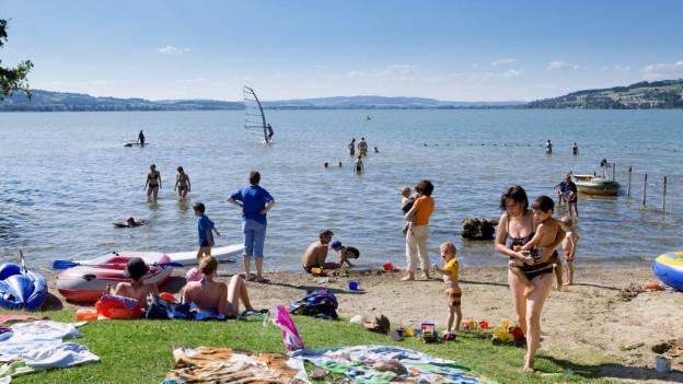 Baden am Sempachersee: Das Seeufer ist kaum wo so zugänglich wie beim Campingplatz.