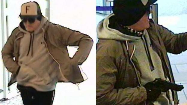 Ein Bankräuber, aufgenommen von einer Überwachungskamera.