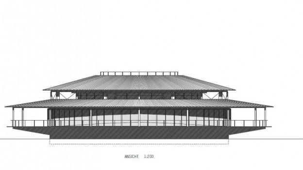 Skizze eines Pavillons