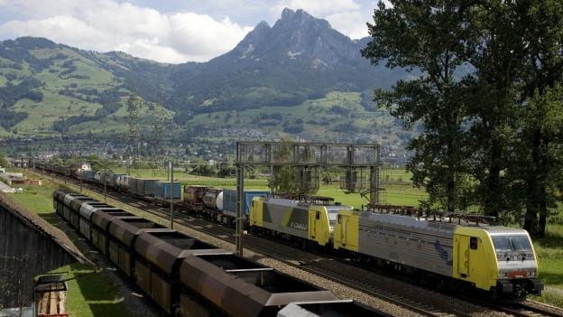 Ein Güterzug fährt im Talkessel von Schwyz ein.