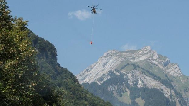 Ein Helikopter brachte Löschwasser zur Absturzstelle.