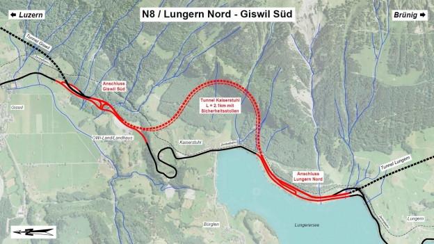 Der Plan für den Ausbau der Nationalstrasse zwischen Giswil und Lungern.