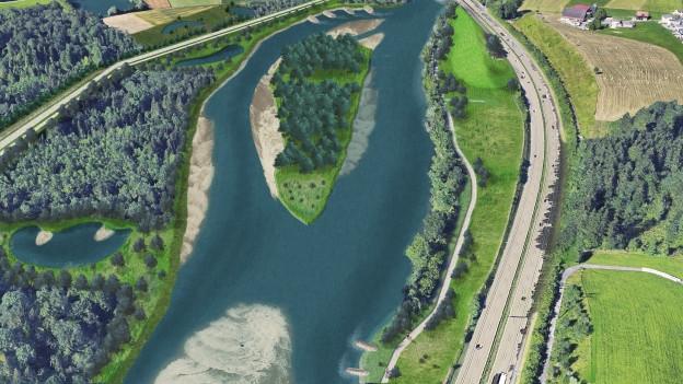 Visualisierung der Reuss auf der Höhe von Buchrain: Unter anderem hier soll der Fluss mehr Platz erhalten.