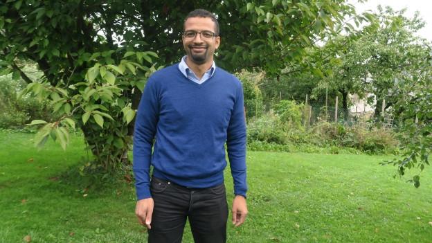 Brahim Aakti in seinem Garten am Tag nach der Wahl.