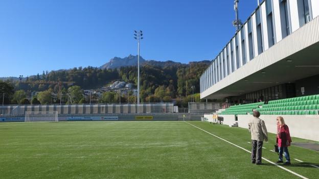 Stadion mit bester Sicht auf den Pilatus: Das Spielfeld im neuen Kleinfeld in Kriens.
