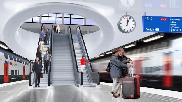 Visualisierung des unterirdischen Bahnhofs in Luzern.