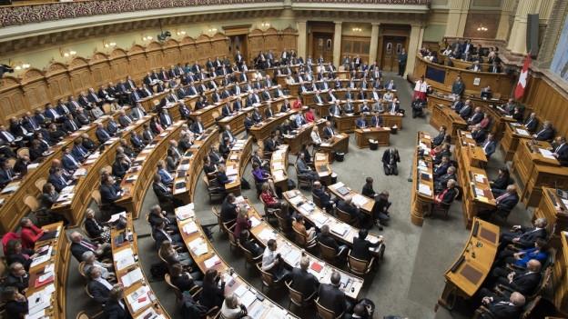 Blick in den Nationalratssaal im Berner Bundeshaus.