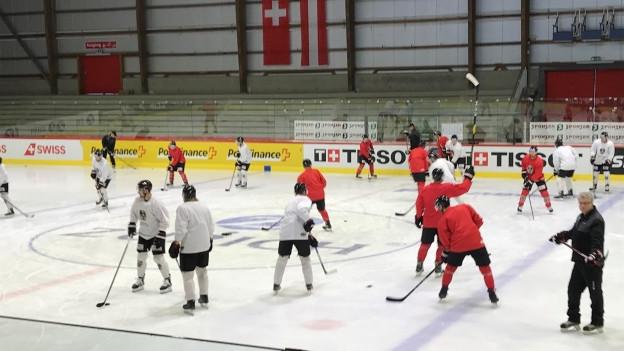 Die Mannschaft aus Österreich bereitet sich vor.