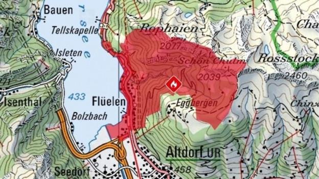 Eine Karte zeigt die Rauchausbreitung