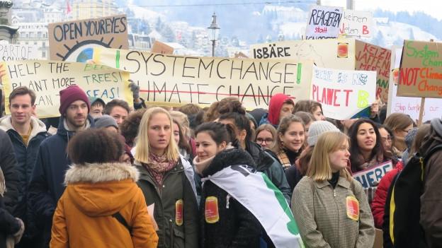 Jugendliche an der Klimademo in Luzern