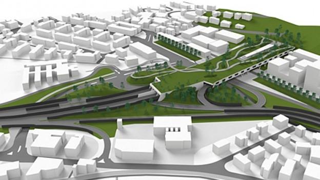 Visualisierung des Sonnenberg-Südportals nach Realisierung es Bypasses.