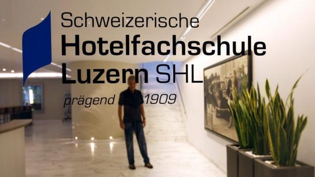 Glasscheibe mit Inschrift: Schweizerische Hotelfachschule Luzern