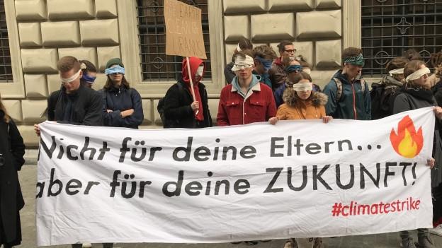 Gegen hundert Menschen demonstrierten vor dem Luzerner Regierungsgebäude für mehr Klimaschutz.