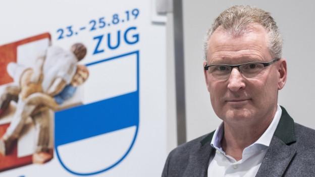 Heinz Tännler, Zuger Regierungsrat und OK-Präsident sagt: «Wir sind im Zeitplan fürs Schwingfest.»
